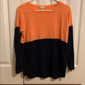 J crew coral and navy long sleeve tee